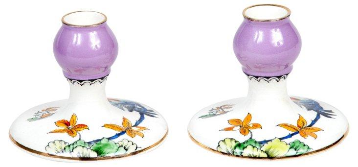 Floral Ceramic Candleholders, Pair