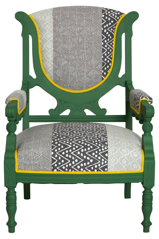 Green Chair w/ Graphic Upholstery