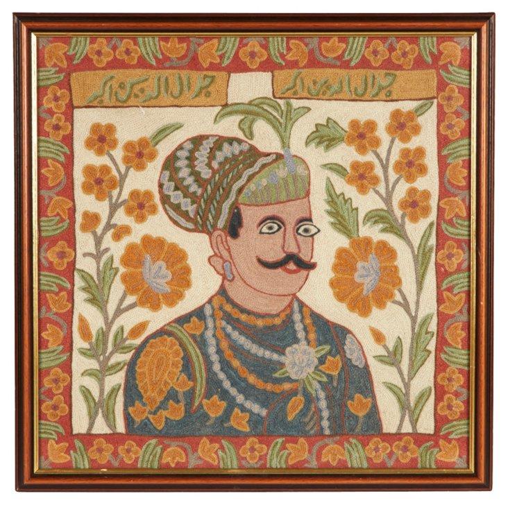 Framed Crewelwork Indian Portrait