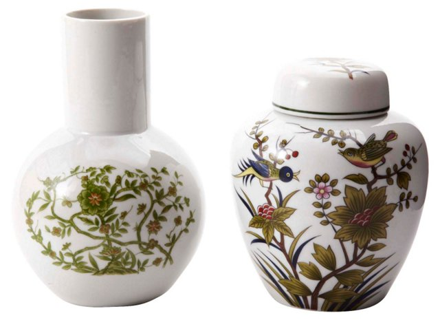 Asian-Style Lidded  Jar & Vase