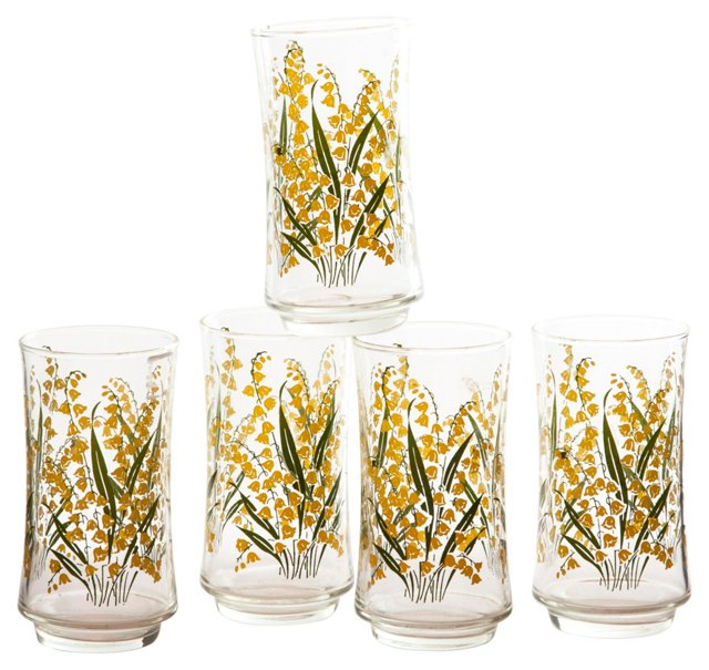 Yellow Floral Glasses, Set of 5
