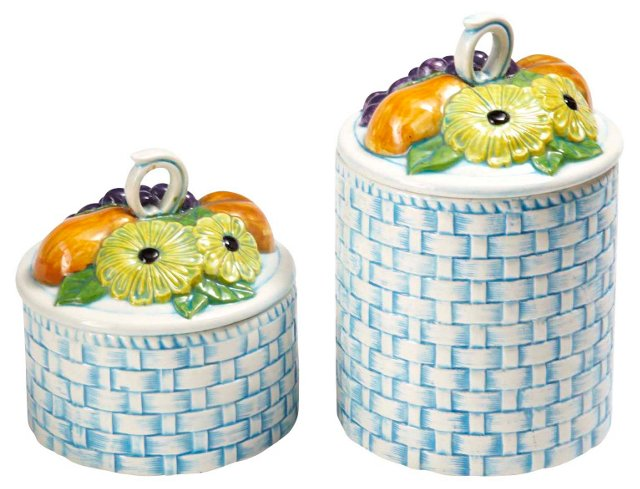 Fruit Lidded Canisters, Pair