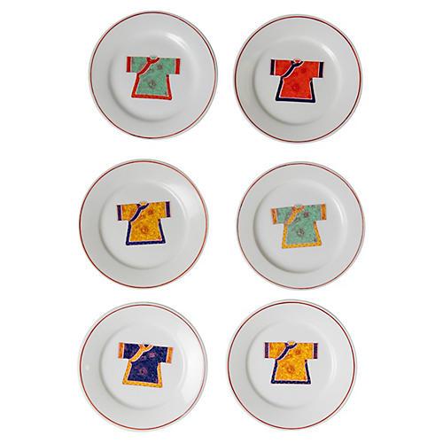 Colorful Kimono Plates, S/6