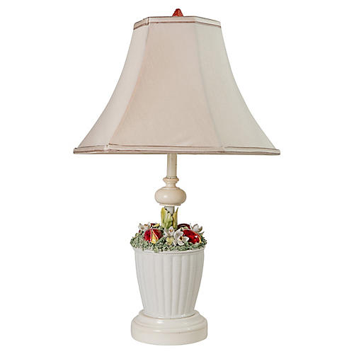 Italian Floral Basket Table Lamp
