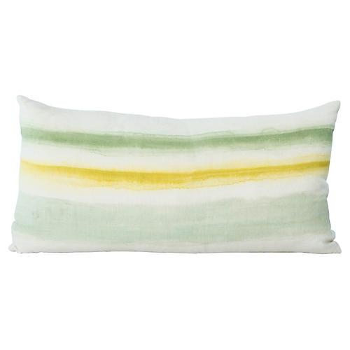 Hand-Painted Striped Lumbar Pillow
