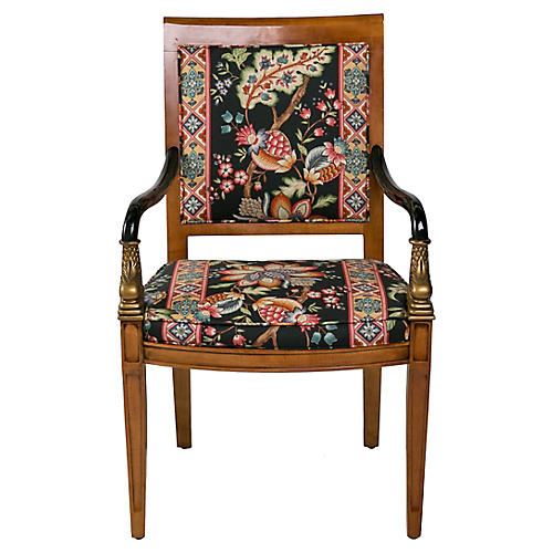 1960s Dolphin Chair w/ Floral Upholstery