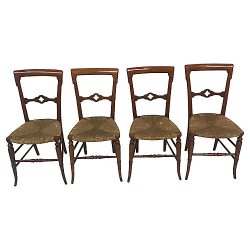 19th Cent. Gothic Dining Chairs, S/4