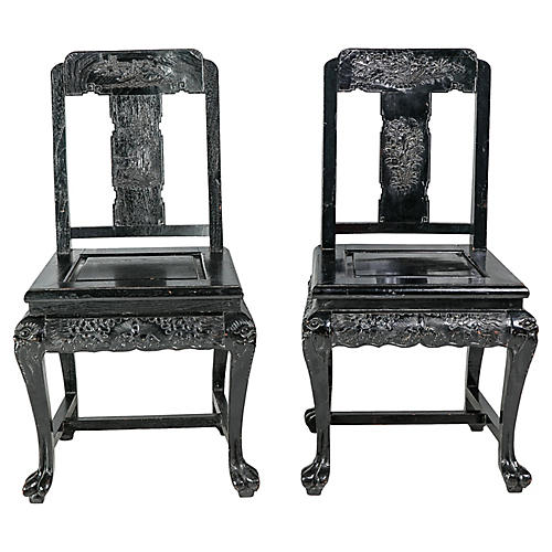 Chinoiserie Side Chairs, Pair