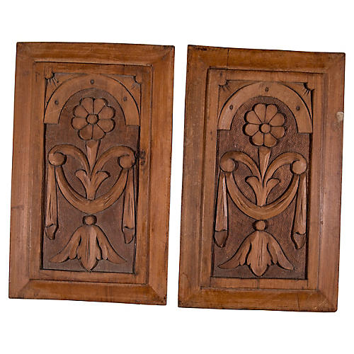 Wood Floral Panels, Pair