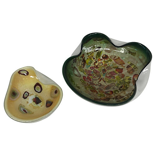 Murano Glass Blown Bowls, S/2