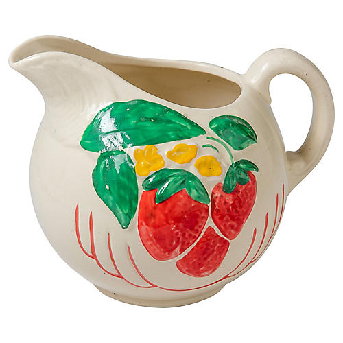 Strawberry Motif Ceramic Pitcher