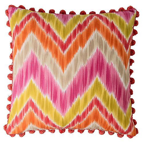 Custom Ikat Pillow w/ Pom-Pom Fringe