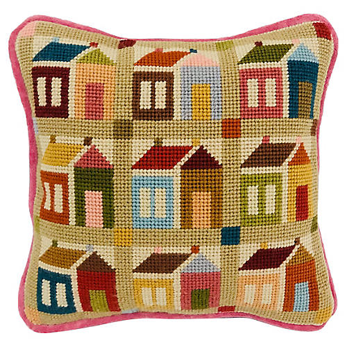 Cottage Needlepoint Pillow