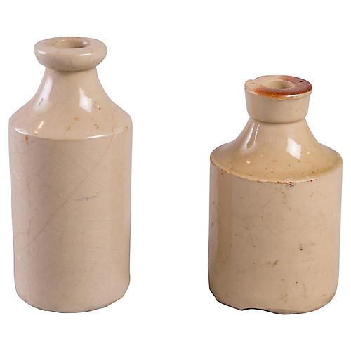 Rustic Earthenware Vases, S/2
