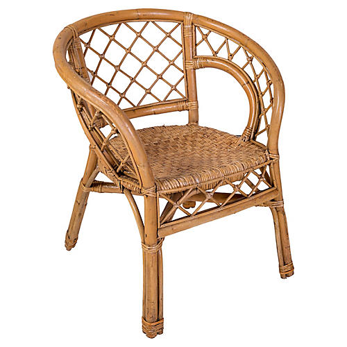 Rattan Chair with Woven Seat