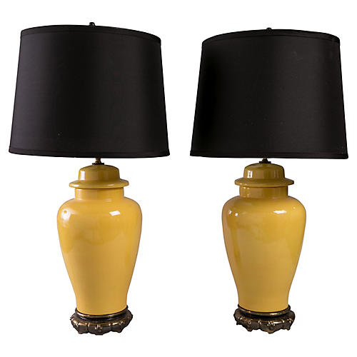 Yellow Ginger Jar Lamps, Pair