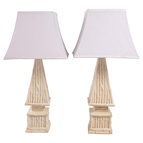Bamboo Pyramid Table Lamps, Pair