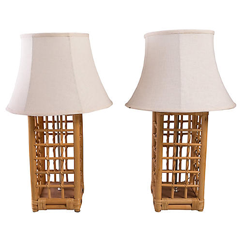 Square Rattan Lamps, Pair