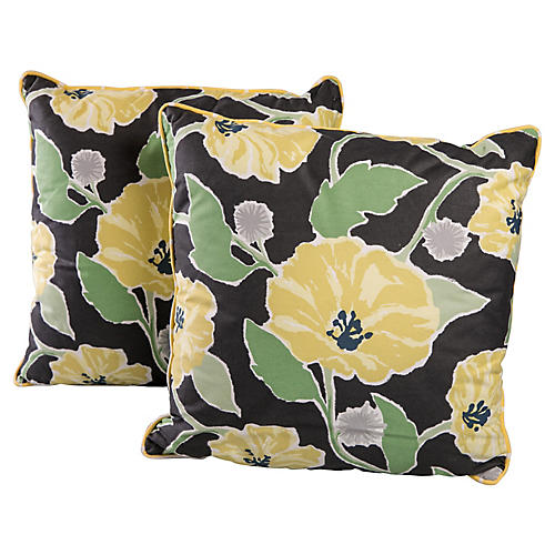 Floral Pillows, Pair