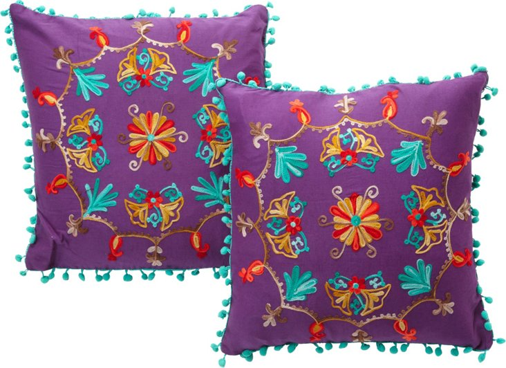 Purple Embroidered Pillows, Pair