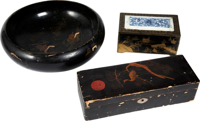 Wood Asian Boxes & Bowl, 3 Pcs