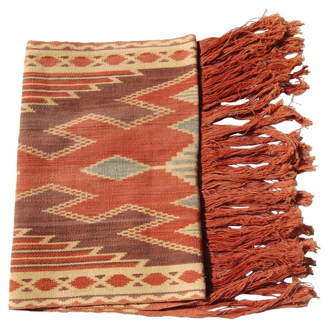 Handwoven Tribal Throw w/ Fringe