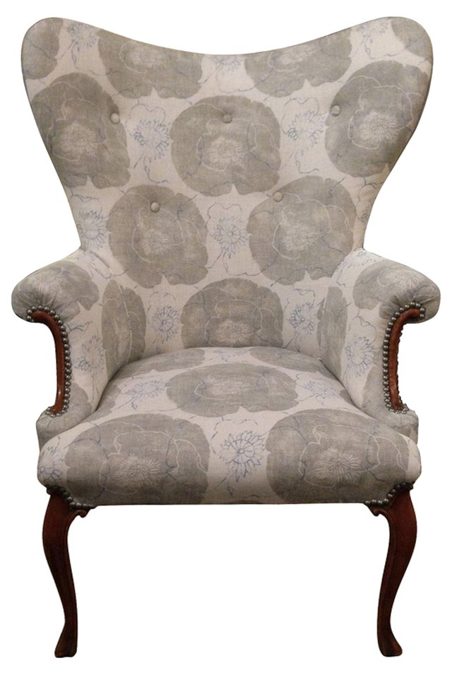 1940s Butterfly Wingback Floral Chair