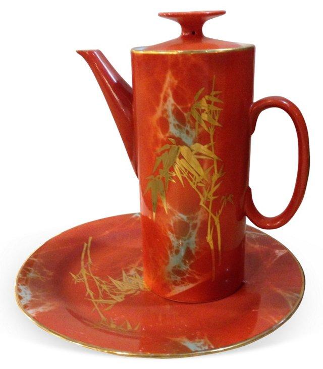 Orange & Gold Asian Teapot w/ Plate