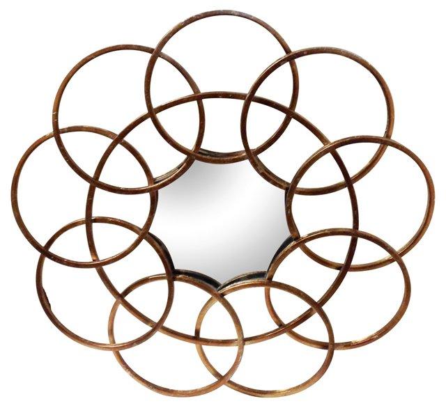 Midcentury Metal Circle Mirror