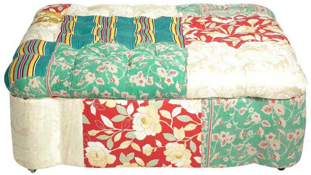 Large Quilt-Upholstered Ottoman