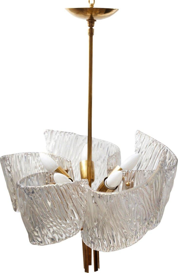 Kalmar Glass Swirl Chandelier