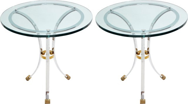 Chrome & Brass Side Tables, Pair