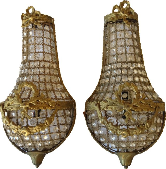 French Crystal Basket Sconces, Pair