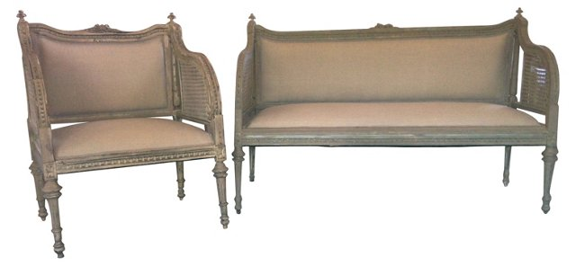 French-Style Double-Caned Settee & Chair