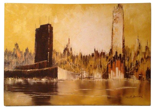Midcentury Abstract Cityscape Skyline