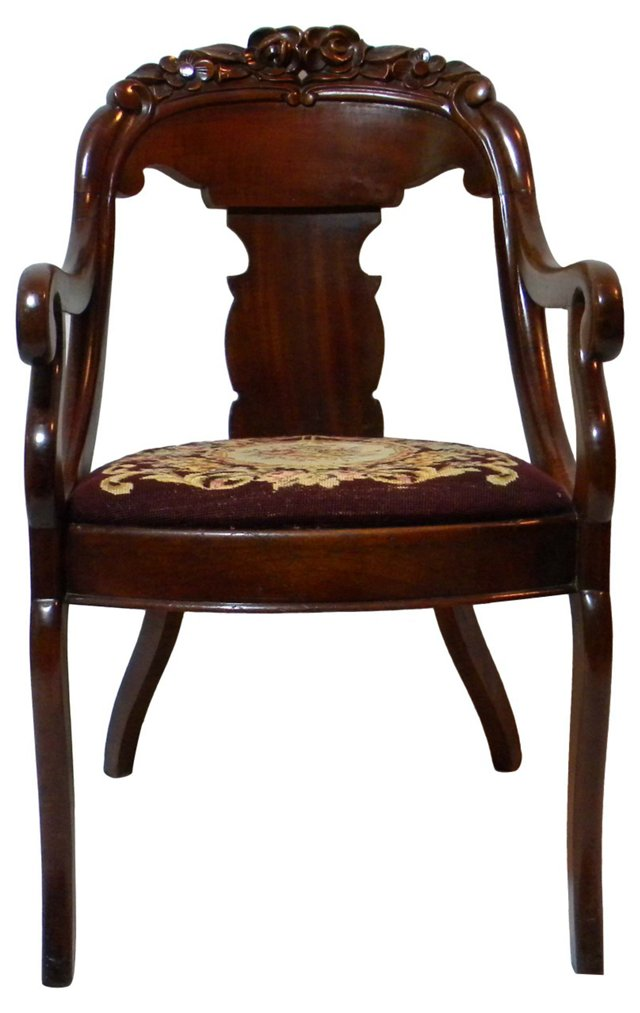 Carved Scrolled Armchair