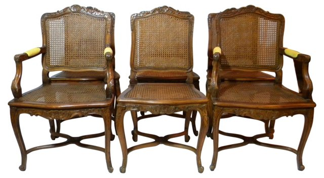 French Cane Dining Chairs, S/6