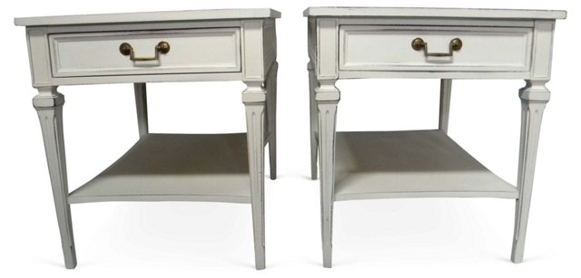 Painted  End  Tables, Pair