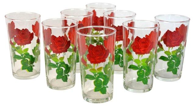 Rose Tumbler Glasses, S/8