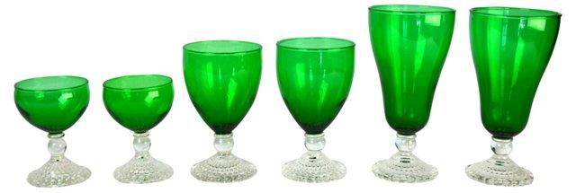 Mixed Emerald Goblets, Set of 6