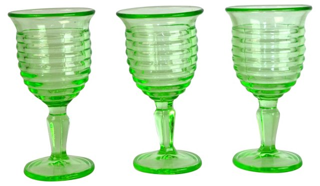 Citrine-Green Glass Cordials, Set of 3