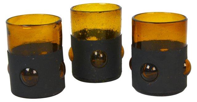 Handblown Amber Glasses, Set of 3