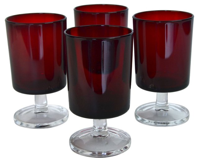 French Ruby Cordials, Set of 4