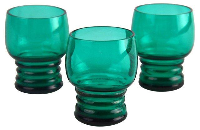 Emerald Shot Glasses, Set of 3