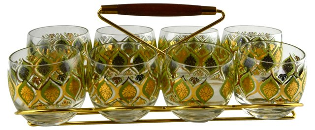 Caddy & Golden Glass Set, 9 Pcs