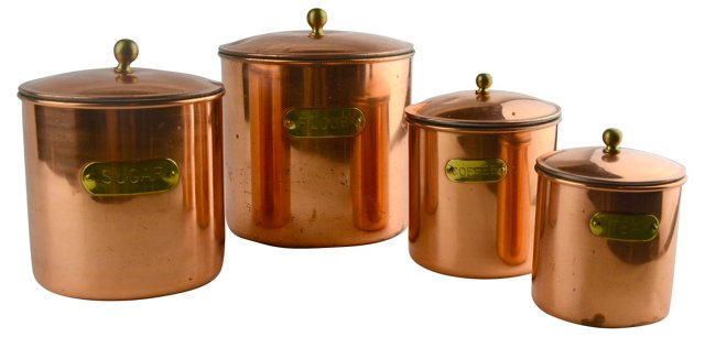 Copper Kitchen Canisters, Set of 4