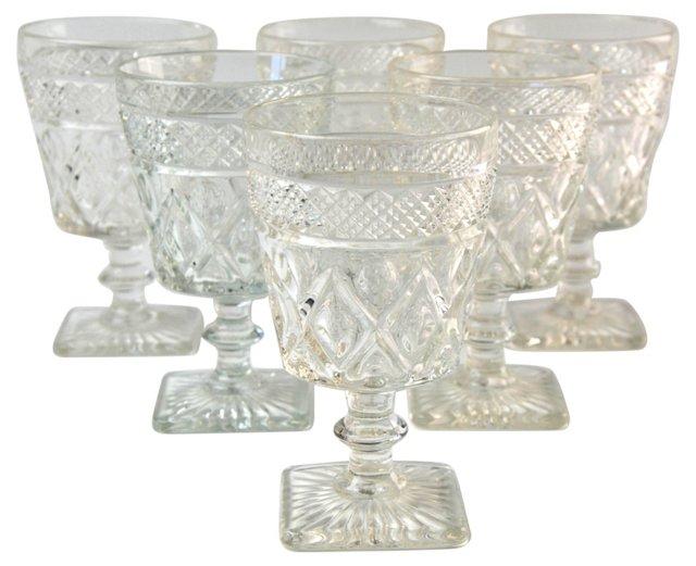 Harlequin Glass Goblets, S/6