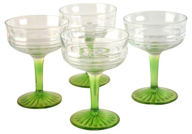 Green Stem Goblets, S/4