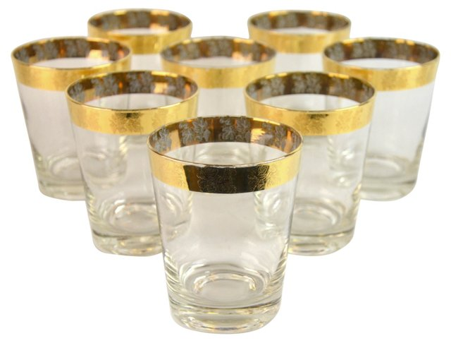 Gold Rim Rock Glasses, S/8