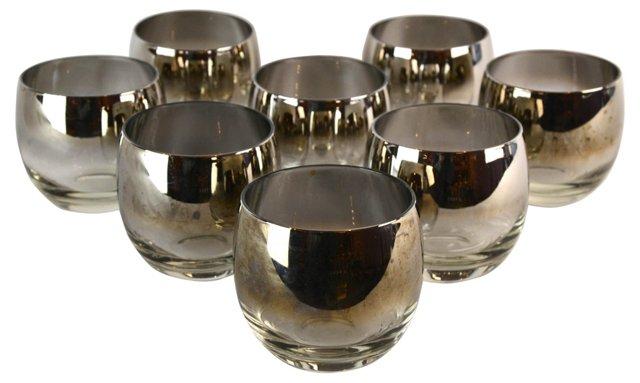 Silver Ombré Cocktail Glasses, S/8